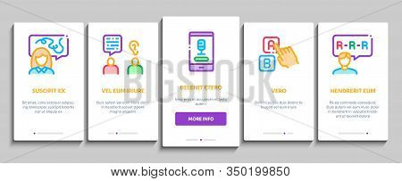 Speech Therapist Help Onboarding Mobile App Page Screen Vector. Speech Therapist Therapy, Alphabet A