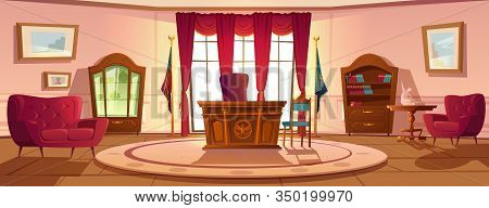 Oval Office In White House Daytime. Vector Cartoon Empty Interior Of American Presedent Cabinet With