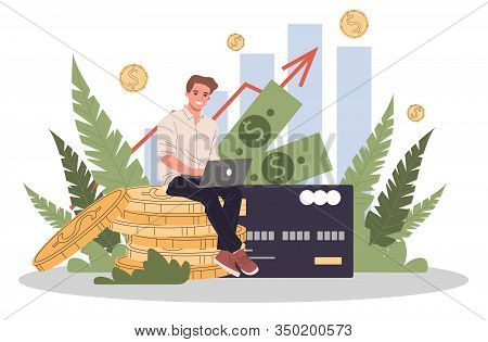 Business Solutions For Finance Vector Illustration. Employee Investing Capital. Increasing Revenue A