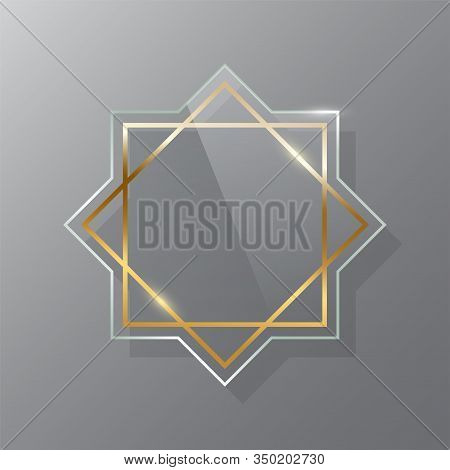 Golden Glass Frame Realistic Vector Mockup Set. Luxurious Makeup Mirror Isolated On Gray Background.
