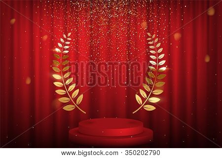 Red Curtain, Laurel Twigs Realistic Illustration. Golden Glitters, Bokeh Effect. Retro Crimson Backg