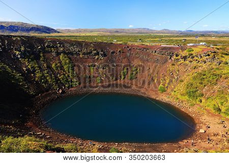 Kerid volcanic crater lake in Iceland, Europe
