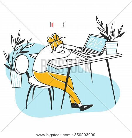 Tired Exhausted Office Employee Sleeping At Computer. Depressed Young Woman With Low Battery Leaning