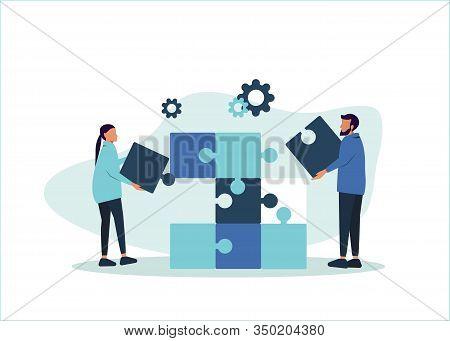 Business teamwork concept. Team metaphor. People teamwork connecting puzzle elements. Vector teamwork illustration of a flat design style. Symbol of teamwork, collaboration, collaboration.