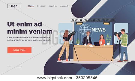 Tv News Anchors. Couple Of Newscasters, Cameramen Working In Studio Flat Vector Illustration. Broadc
