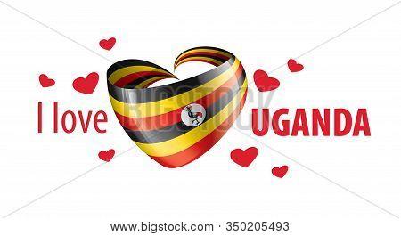 National Flag Of The Uganda In The Shape Of A Heart And The Inscription I Love Uganda. Vector Illust