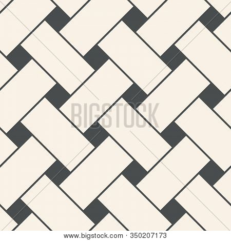 Abstract Geometric Bicolor Seamless Pattern With Interwoven At Right Angles Lines. Vector Illustrati