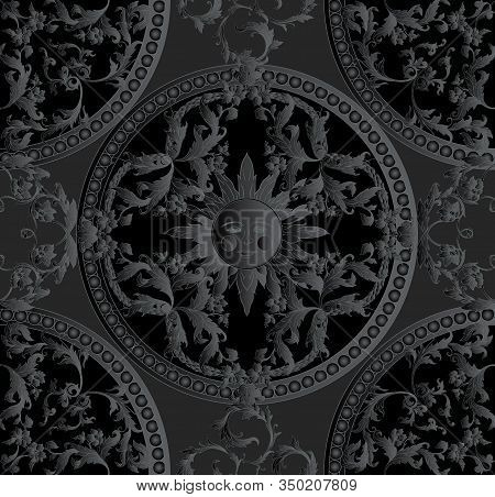 Seamless Pattern, Background In Baroque, Rococo, Victorian, Renaissance Style. Trendy Frolar Vintage