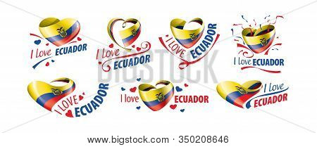 National Flag Of The Ecuador In The Shape Of A Heart And The Inscription I Love Ecuador. Vector Illu