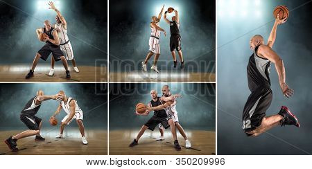 Collage of Caucassian Basketball Players in dynamic action with ball in professional sport game under hall light.