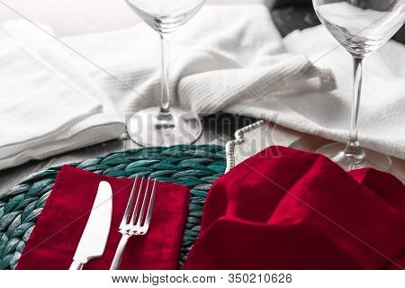 Holiday Table Setting With Red Napkin And Silver Cutlery, Food Styling Props, Vintage Set For Weddin