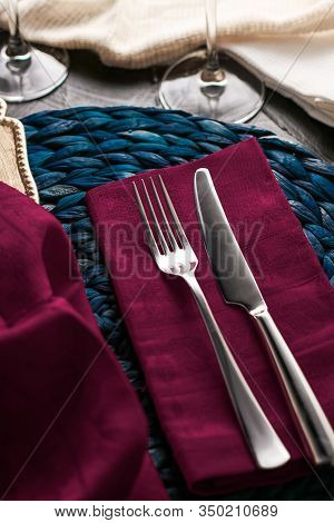 Holiday Table Setting With Purple Napkin And Silver Cutlery, Food Styling Props, Vintage Set For Wed