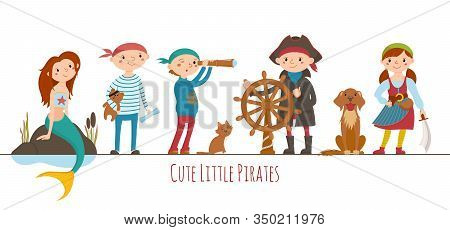 Set Of Little Boys And Girls Dressed As Sailors, Pirates And A Mermaid, Cartoon Vector Illustration