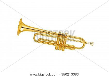 Golden Trumpet Isolated On A White Background