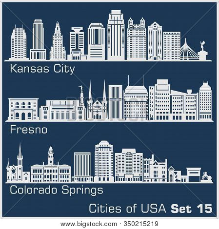 Cities Of Usa - Kansas City, Fresno, Colorado Springs. Detailed Architecture. Trendy Vector Illustra