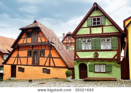 The Old Fachwerk houses in Dinkelsbuhl.