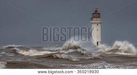New Brighton Lighthouse At Perch Rock On The Opposite Side Of The River Mersey To Liverpool. Taken D