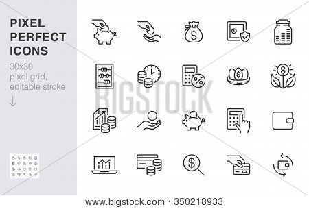 Money Income Line Icon Set. Pension Fund, Profit Growth, Piggy Bank, Finance Capital Minimal Vector