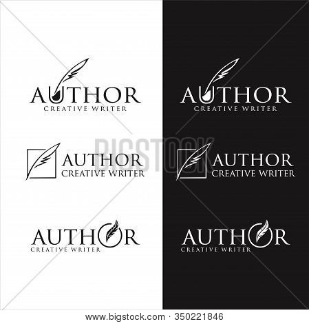 Set Of Write Logo, Simple Style Stock Vector Art . Author Write Logo Templates Design Vector Stock .