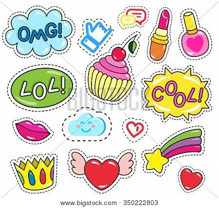 Collection Of Patches, Set Of Isolated Stickers. Inscriptions And Images. Crown And Nail Polish. Omg
