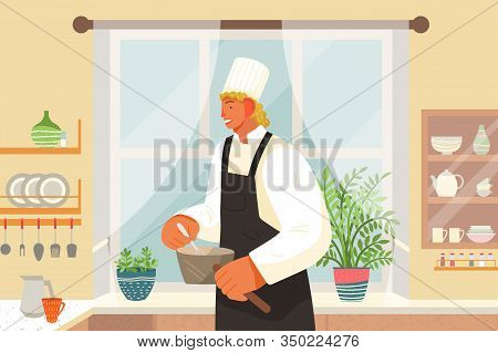 Restaurant Kitchen, Eating Out, Chef Or Cook With Saucepans Vector. Cafe Staff, Culinary And Cooking