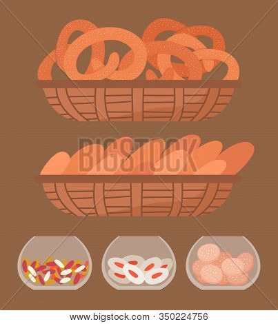 Set Of Different Confectionery In Bakeshop. Cookies, Bread And Candies On Rack In Market Or Bakery.