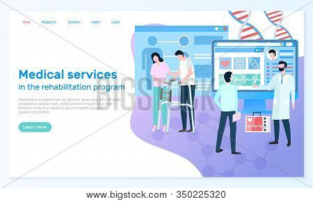 Website Of Clinic That Provides Medical Services In Rehabilitation Program. Woman Works As Nurse And
