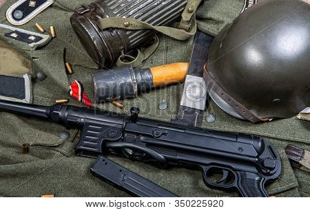 Vintage Background With German Army Field Equipment. World War Two