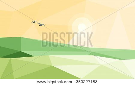 Vector Illustration Of Stylized Low Poly Triangular Landscape With Green Triangular Hill With Geomet