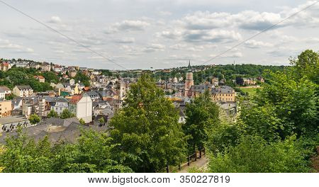 Scenery Of Historical Greiz Town In Thuringia In Germany During Nice Summer Day With Blue Sky And Cl