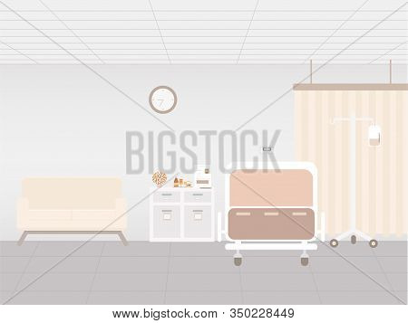 Hospital Interior In Inpatient Room With Bed And Amenities Vector Illustration