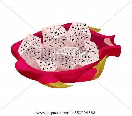 Pitaya Pulp Cut Into Cubes Rested In Leathery And Leafy Skin Vector Illustration