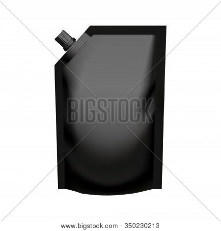 Realistic Black Pouch Doypack With Side Spout