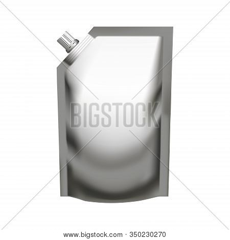 Realistic Silver Pouch Doypack With Side Spout