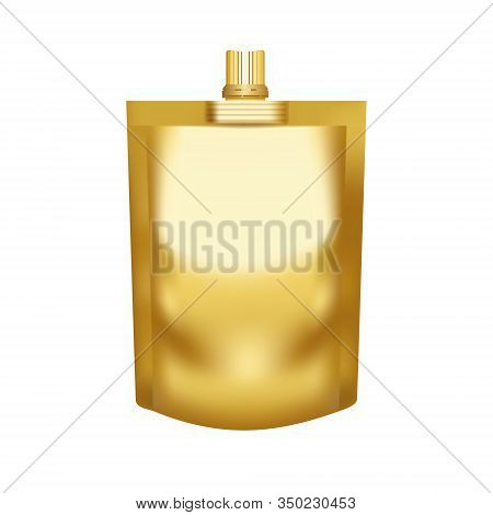 Realistic Blank Golden Pouch Doypack With Top Cap