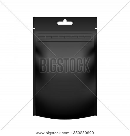 Realistic Blank Black Pouch Doypack With Zip Lock