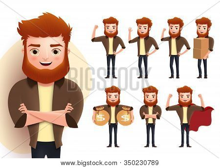 Man Vector Character Set. Male Characters Standing Poses With Strong Masculine Body Working Holding