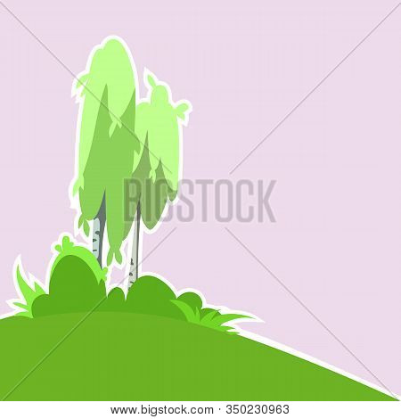 Background With Birch And Vegetation. Birch Vector, Vector Background.