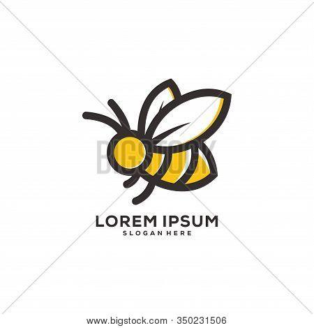 Honey Bee Animals Logo Vector Concept Design