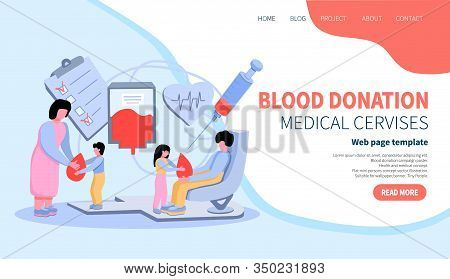 Blood Donation Concept. Landing Page Template For Blood Bank Or Hospital. Flat Vector Illustration.