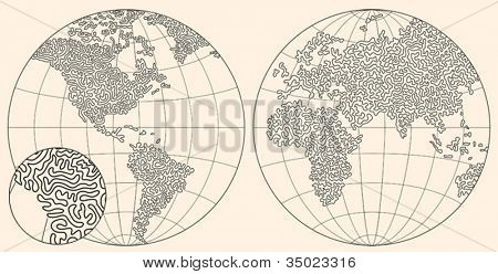 original hand made world map. consist of curves