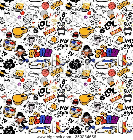 Youth Funny Cool Modern Seamless Pattern On White Background.