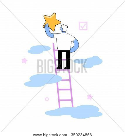 Businessman Climbing A Ladder To A Star. Concept Of A Reaching For A Star, To A Goal. Flat Vector Il