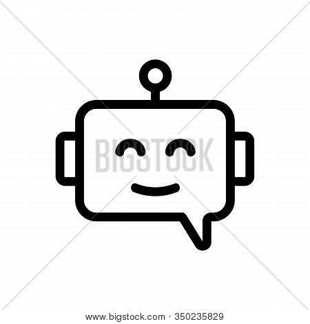 Chat Bot Icon Vector. Thin Line Sign. Isolated Contour Symbol Illustration