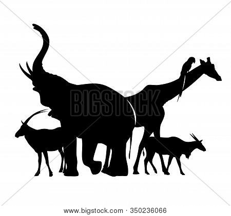Group Of African Wild Animals Standing Together - Black Vector Silhouette Outlines Of Elephant, Gira