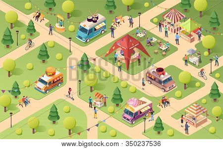 Summer Park At Street Food Festival. Van Or Truck With Sushi And Ice-cream, Coffee And Burger. Lemon