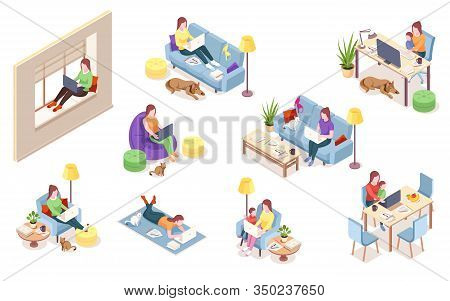 Set Of Isolated Vector Woman At Workplace. Girl With Notebook Sitting In Chair Bag, Windowsill, Sofa