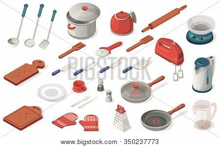 Set Of Kitchen Utensil, Food, Equipment, Appliance. Dripping Pan, Saucepan, Knife, Kettle, Scoop, Sp
