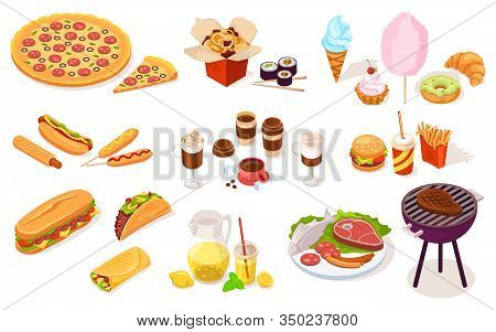 Set Of Fast And Street Food. Vector Hot Dog, Pizza, Onion Ring, Sushi, Ice-cream, Candy-floss, Burge