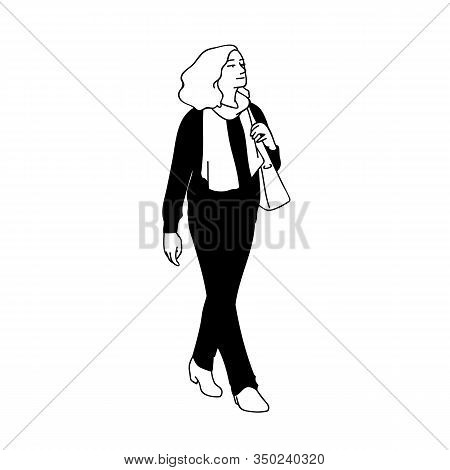 Adult Woman With Curky Hair Taking A Walk, Looking Far Away. Concept. Monochrome Vector Illustration